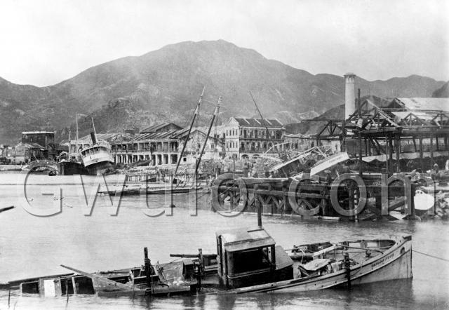 1906 Ships & buildings showing typhoon damage