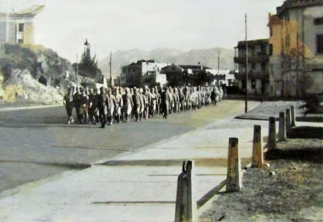 1945 Japanese POWs Marching