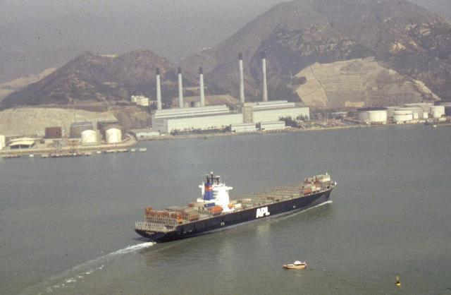 APL Container vessel passes Tsing Yi  power station 1991