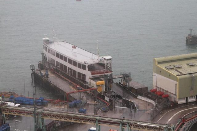 Double deck vehicular ferry at the Shell oil depot on Tsing Yi