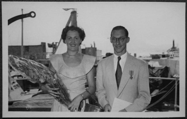 Phil & Ans Beekmeijer waving off friends going on 'big leave', Hong Kong 1951