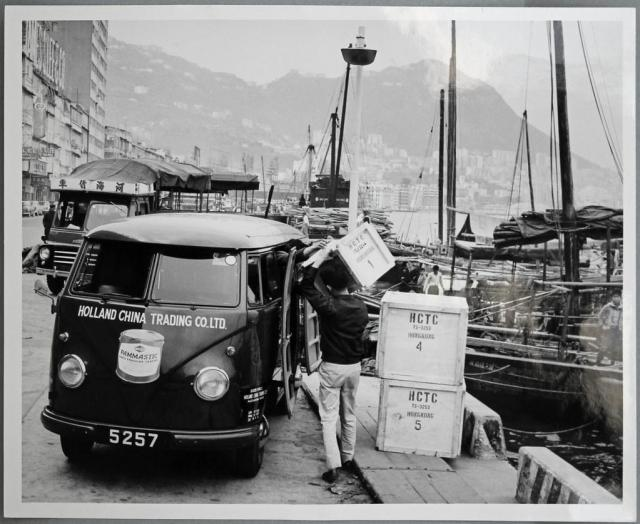 Hong Kong, Holland-China Trading Company, VW T1 delivery van at Gloucester Road (prev. Wanchai Praya), ca. 1956