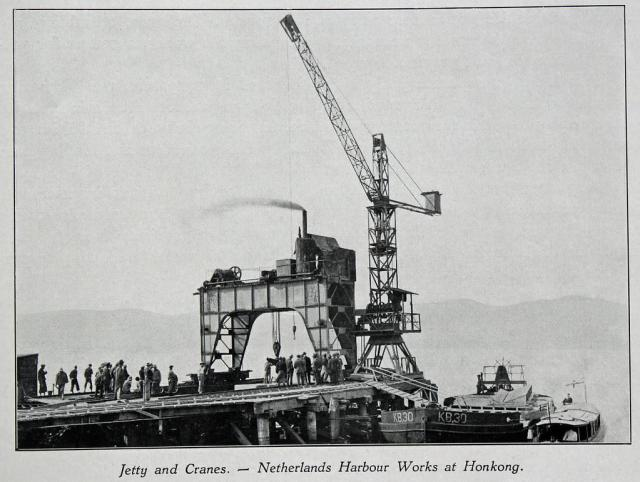 Netherlands Harbour Works Co.: Jetty and Cranes at Hong Kong, ca. 1925