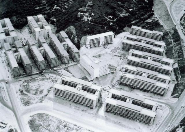 1963  An aerial view of Chai Wan Resettlement Estate = 柴灣新區空中一景