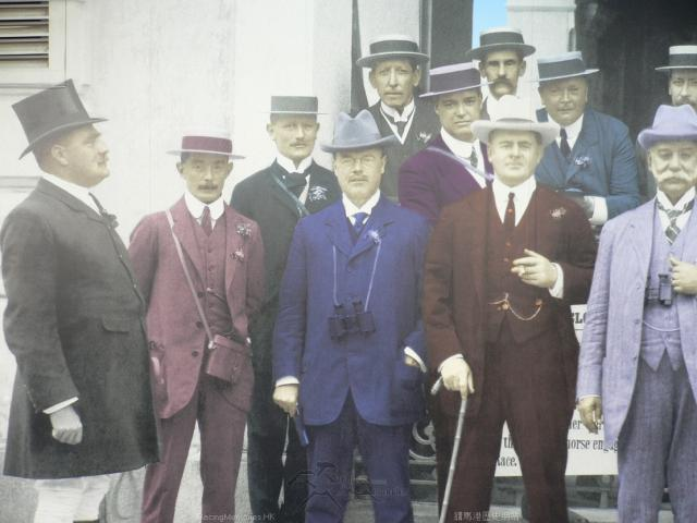 William Jardine Gresson on the left, Sir Paul Chater on the right side,,(Sir Henry May holding a Starter's Flag not showing) in