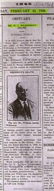 Death of William J Wilkinson