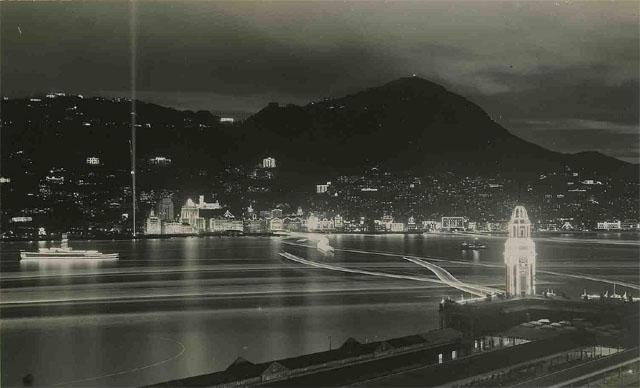 QE2 coronation - Harbour lights from Kowloon