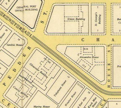 1961 Map of Buildings between Ice House St and Pedder St