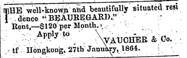 Ad for house named Beauregard