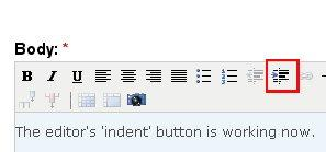 'Indent' button
