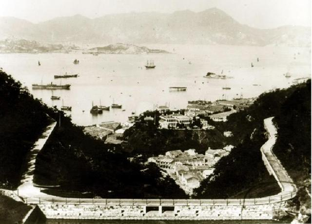 Viewing Wanchai District from Bowen Road 1895