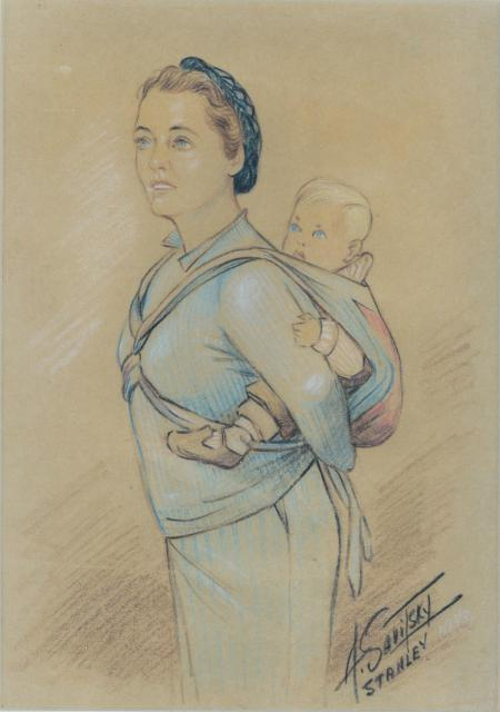 Norah and Christopher Potter in Stanley Internment Camp by Anton Savitsky
