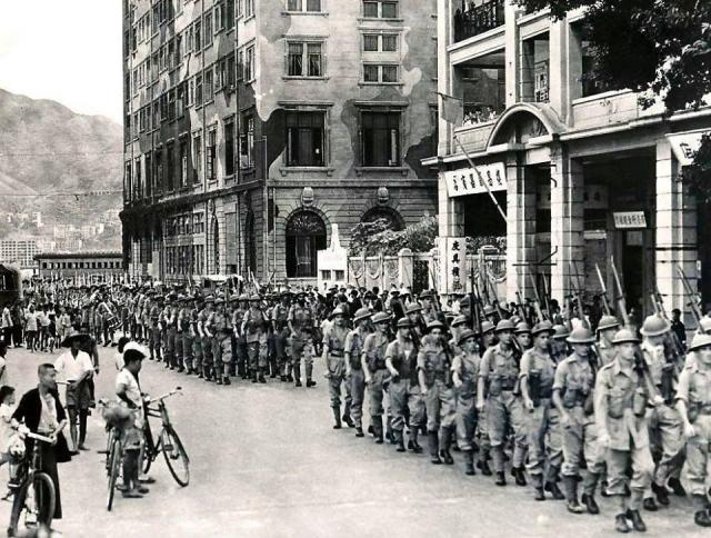 Royal Marines Marching Through TST (1945)