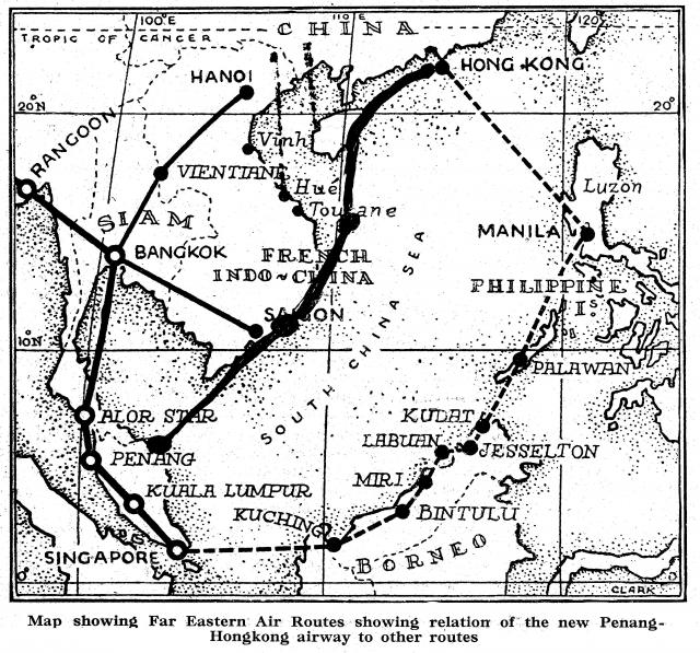 Map Showing First Far- Eastern Air Routes to Hong Kong