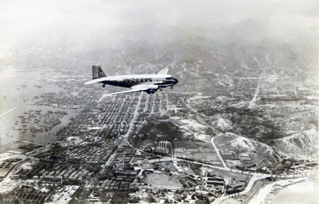 1947 Cathay Pacific DC3 (C47A) over Kowloon
