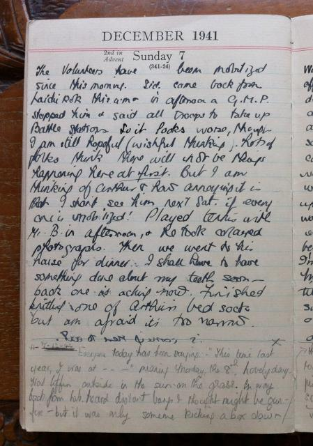 Barbara Anslow's diary for 7 Dec, 1941
