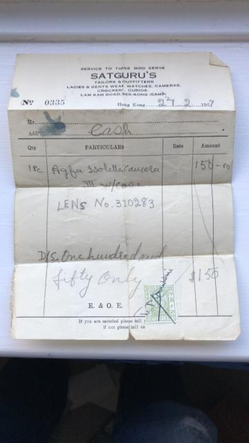 receipts from shops in Hong Kong 1956/57