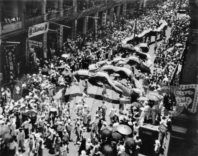 1937 Dragon dance as part of KGVI coronation celebrations