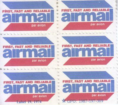 1980 GPO Airmail Labels