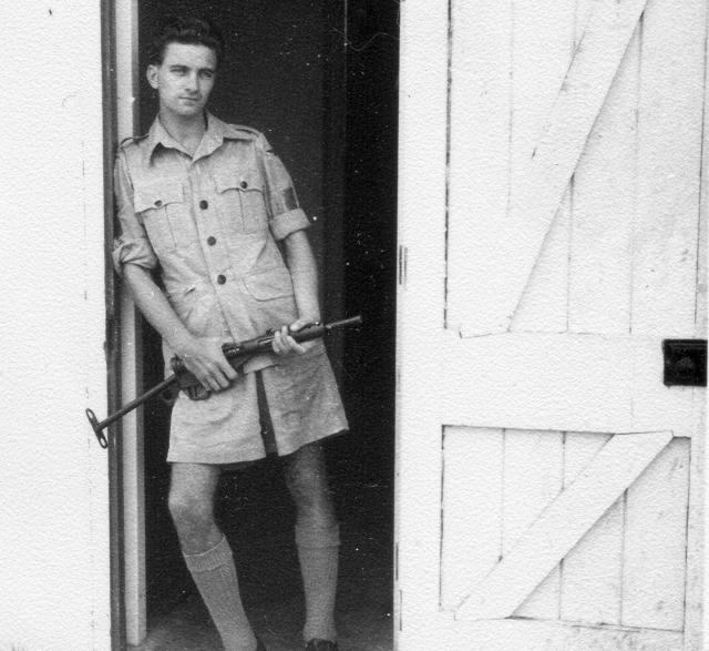 Bert Pope with Sten gun.