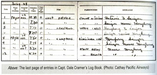Cathay- Catalina flying boat-Passenger-Batley present-pilot's log-book page