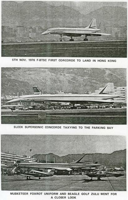Concorde-1st visit-taxying in & parking-November 1976-Aviation Club magazine
