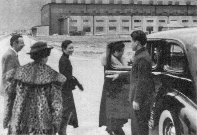 Kai Tak-Mme Chiang Kai-shek & sister Mme HH Kung with Airport Superintendent AJR Moss & his wife
