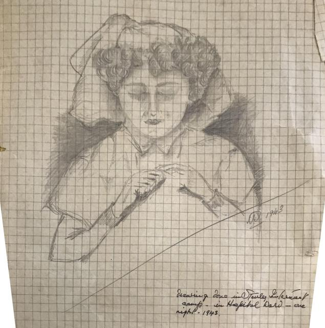 Drawing of a nurse by Dr. Talbot  1943