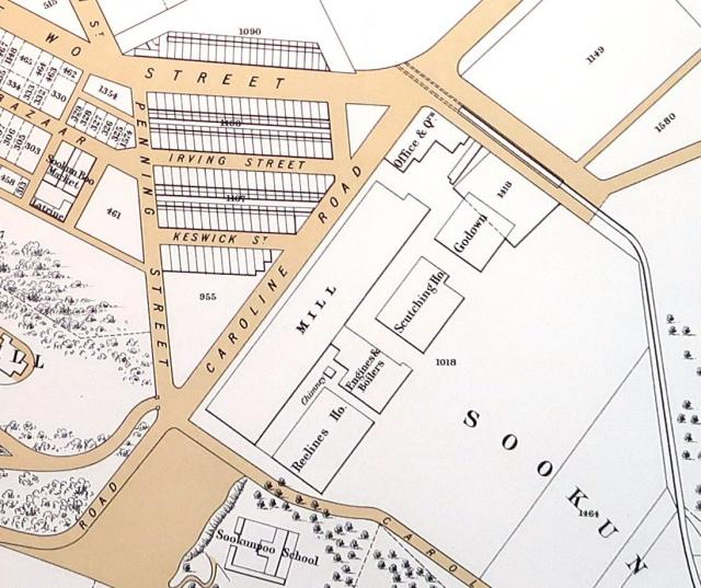 1901 map showing the cotton mill in Causeway Bay