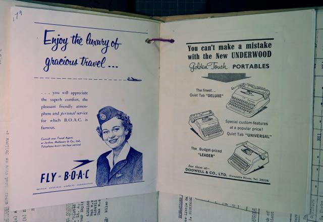 Adverts for BOAC and Underwood