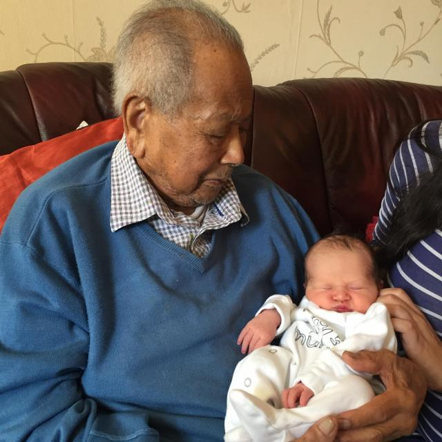 With his newest great grandchild