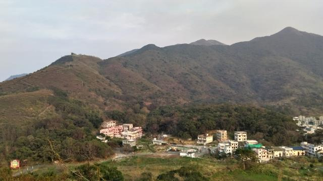 Lin Ma Hang Village with Maclntosh Fort in the foreground
