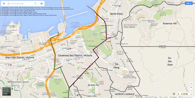 Map of Causeway Bay District, Victoria, Hong Kong