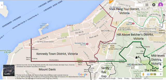 Map of Kennedy Town District, Victoria, Hong Kong
