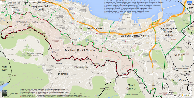Map of Mid-levels District, Victoria, Hong Kong