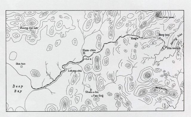 Detailed map of the boundary for the Extension of Hong Kong Territory in 1899