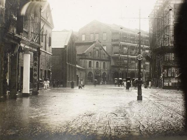 Flooding caused by the 19th July 1926 rainstorm, Des Voeux Road, Hong Kong