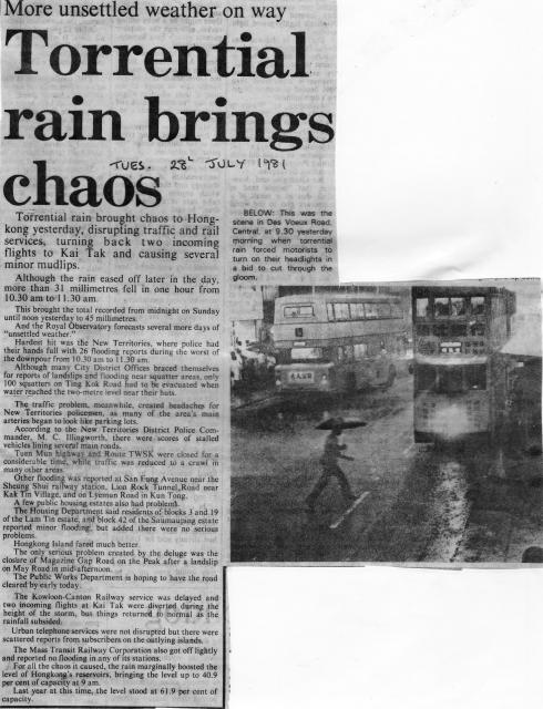 Newspaper cutting Torrential Rain 1981-07-28.