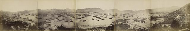 Panorama of Hong Kong from Government House, showing the Fleet for North China Expedition