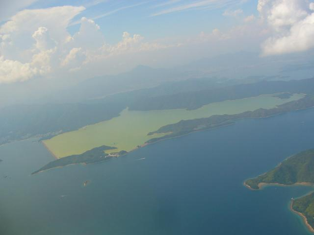 Plover Cove Reservoir from a plane