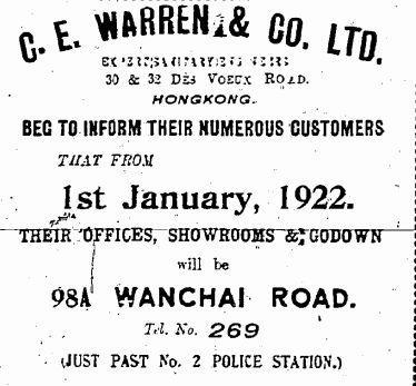 1922 C.E. Warren & Co Ltd Advertisement