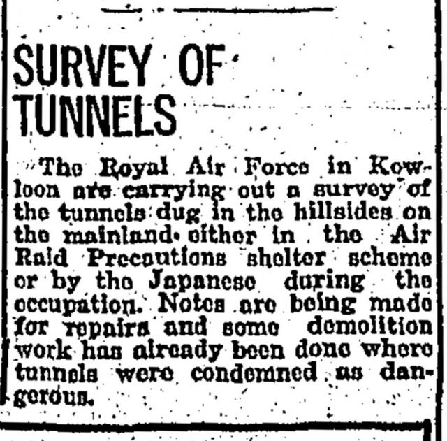 Survey of tunnels-China Mail-15-09-1945