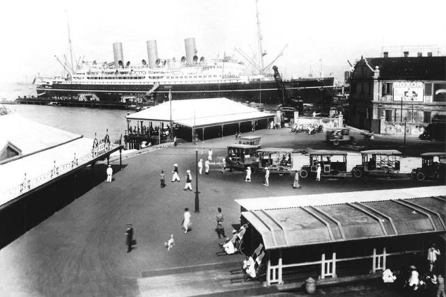 TST Star Ferry and bus terminus with Canadian Pacific liner