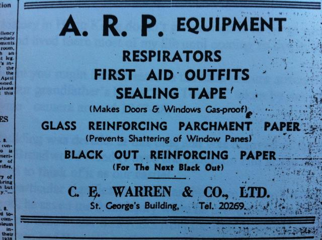 C.E. Warren & Co. Ltd. ad for A.R.P. black out equipment