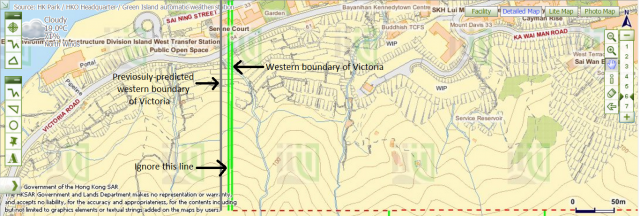 Western boundary of Victoria and previosuly-predicted location of the boundary