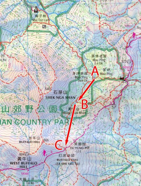 Map of Wong Chuk Shan boulder trackway