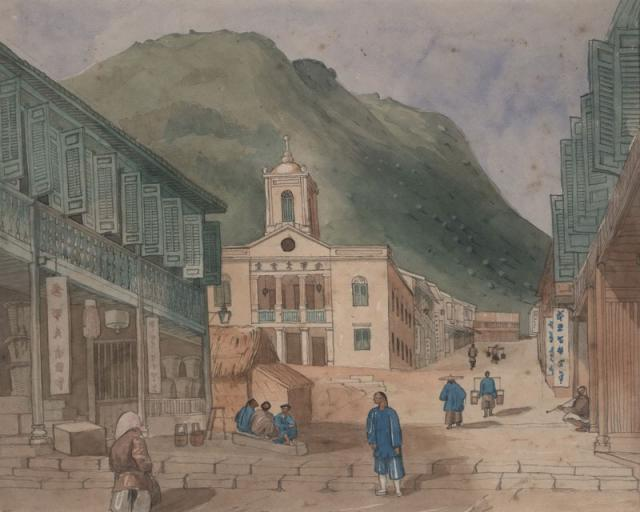American Baptist Chapel, looking up Shing Wong St toward Hollywood Rd, Gough street on left