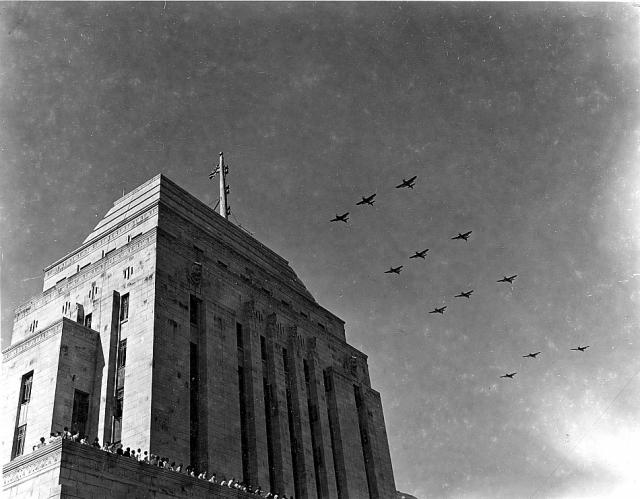 Fairey Barracudas fly in formation over the Japanese surrender celebrations