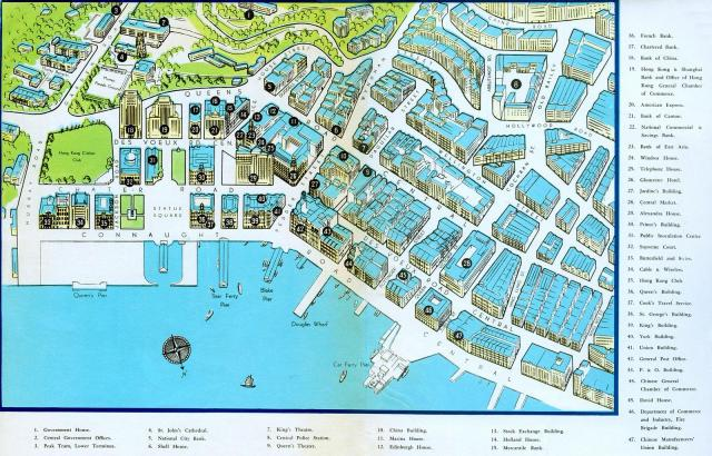 Hong Kong-Central Business District-Pictorial map-1955 ...