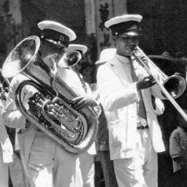 c.1929 Marching band taking part in a funeral procession